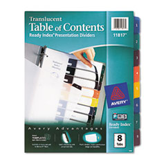 Avery Ready Index Table/Contents Dividers, 8-Tab, Letter, Assorted, 8/Set