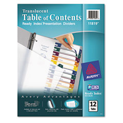 Avery Ready Index Table/Contents Dividers, 12-Tab, Letter, Assorted, 12/Set