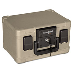 SureSeal By FireKing Fire and Waterproof Chest, 12-1/5w x 9-4/5d x 7-3/10h, Taupe