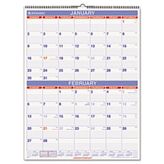 AT-A-GLANCE Recycled Two-Month Wall Calendar, Blue and Red, 22