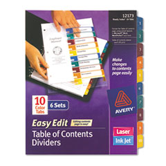Avery Ready Index Easy Edit Contents Dividers, Title 1-10, Letter, Multicolor, 6 Sets