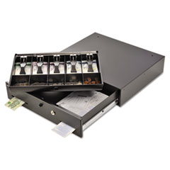 SteelMaster Alarm Alert Steel Cash Drawer w/key/Push-Button Release Lock, Black