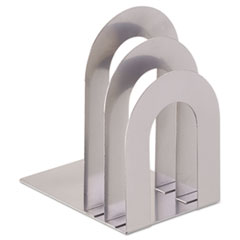 SteelMaster Soho Bookend with Curved Corners, 5�w x 7�d x 8�h, Silver