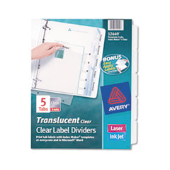 Avery Index Maker Clear Label Punched Dividers, 5-Tab, Letter, 5 Sets/Pack