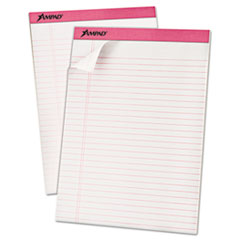 Ampad Breast Cancer Awareness Pads, Lgl/Legal Rule, Ltr, Pink, 6 50-Sheet Pads/Pack