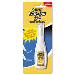 BIC® PEN CORR FLUID 2IN1 WH Wite-Out 2-In-1 Correction Fluid, 15 Ml Bottle, White