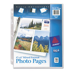 Avery Photo Pages for Six 4 x 6 Mixed Format Photos, 3-Hole Punched, 10/Pack