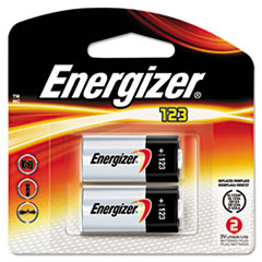 Energizer e2 Lithium Photo Battery, 123, 3V, 2/Pack