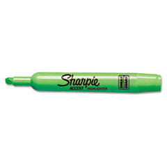 Sharpie Accent Tank Style Highlighter, Chisel Tip, Fluorescent Green, 12/Pk