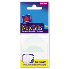 Avery NoteTabs-Notes, Two Inch Tabs and Flags in One, Pastel Blue/Green/Clear, 20/Pack