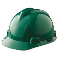 MSA V-Gard Hard Hats, Fas-Trac Ratchet Suspension, Green