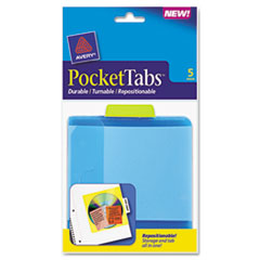 Avery PocketTab Repositionable Storage Pockets, 5 x 5 1/2, Lime, 5/Pack