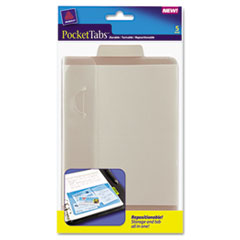 Avery PocketTab Repositionable Storage Pockets, 5 x 7 1/2, Taupe, 5/Pack