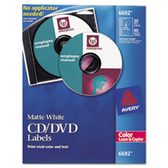 Avery Laser CD/DVD Labels, Matte White, 30/Pack