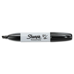 Sharpie Permanent Marker, 5.3mm Chisel Tip, Black, 12/Pack