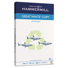 Hammermill Great White Recycled Copy Paper, 92 Brightness, 20lb, 11 x 17, 500 Sheets/Ream