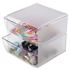 deflecto Two Drawer Cube Organizer, Clear Plastic, 6 x 7-1/8 x 6
