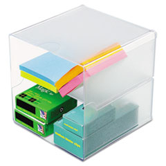 deflect-o Desk Cube, Divided, Clear, 6 x 6 x 6
