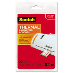"""Scotch™ POUCH THERML BUSCD 20 CLR LAMINATING POUCHES, 5 MIL, 3.75"""" X 2.38"""", GLOSS CLEAR, 20-PACK"""