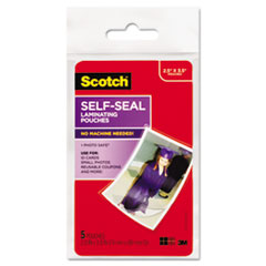 """Scotch™ POUCH LAM WALLET GLSY 5PK SELF-SEALING LAMINATING POUCHES, 9.5 MIL, 2.81"""" X 3.75"""", GLOSS CLEAR, 5-PACK"""