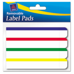 Avery Removable Label Pads, 2/3 x 3 7/16, White w/Assorted Color Bars, 160/Pack