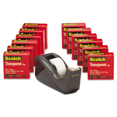 Scotch Transparent Tape Dispenser Value Pack, 1