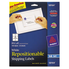 Avery Re-hesive Inkjet Labels, 3 1/3 x 4, White, 150/Pack