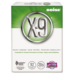 Boise X-9 Copy Paper, 92 Brightness, 20lb, 8-1/2 x 11, White, 5000 Sheets/Carton