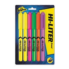 HI-LITER Pen Style Highlighter, Chisel, Assorted Fluorescent Colors, 6/Set