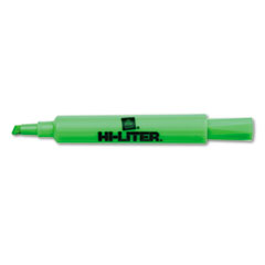 HI-LITER Desk Style Highlighter, Chisel Tip, Fluorescent Green Ink. 12/Pk
