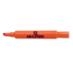 HI-LITER Desk Style Highlighter, Chisel Tip, Fluorescent Orange Ink, 12/Pk
