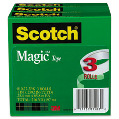 Magic Tape, 1&quot; x 2592&quot;, 3&quot; Core, 3 Rolls