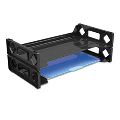 Universal Side Load Legal Desk Tray, Two Tier, Plastic, Black