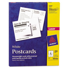 Avery Postcards, Laser, 4 1/4 x 5 1/2, White, 4 Cards/Sheet, 200/Box