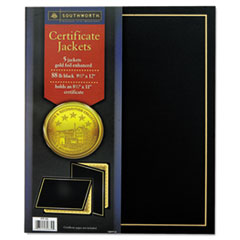 Southworth Certificate Jacket, Black w/Gold Border, 88 lbs., 9-1/2 x 12, 5/Pack