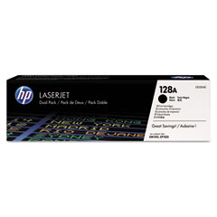 HP 128A, (CE320AD) 2-pack Black Original LaserJet Toner Cartridges