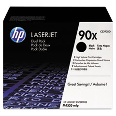 HP CE390XD High-Yield Toner, 24,000 Page-Yield, Black 2/Pk