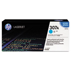 CE741A (HP 307A) Toner Cartridge, 7300 Page-Yield, Cyan