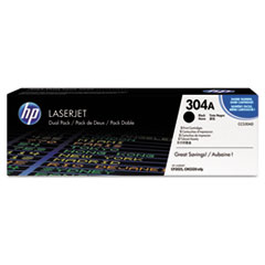 CC530AD (HP 304A) Toner Cartridge, 3500 Page-Yield, 2/Box, Black