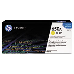 CE272A (HP 650A) Toner Cartridge, 15000 Page-Yield, Yellow