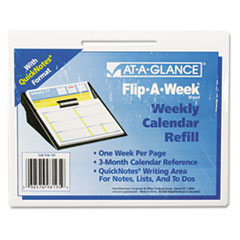 AT-A-GLANCE Flip-A-Week Desk Calendar Refill with QuickNotes Format, 5 5/8