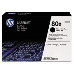 HP 80X, (CF280XD) 2-pack High Yield Black Original LaserJet Toner Cartridges