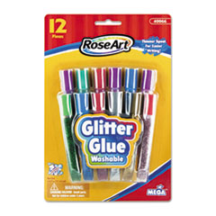 RoseArt Washable Glitter Glue Pens, Assorted, .36 oz Tube, 12/Pack
