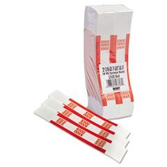 MMF Industries Self-Adhesive Currency Straps, Red, $500 in $5 Bills, 1000 Bands/Box