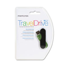 Memorex CL TravelDrive USB Flash Drive, 16GB, Green