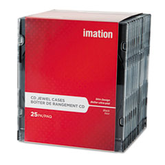 imation CD/DVD Slim Line Jewel Case, Clear/Black, 25/Pack