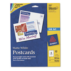 Avery Inkjet Textured Cards, Post Cards, 4-1/4 x 5-1/2, White, 4 Cards/Sheet, 60/Box