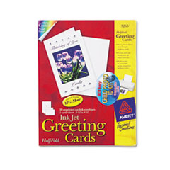 Avery Greeting Cards w/Matching Envelopes, Inkjet, 5-1/2 x 8-1/2, White, 20/Box