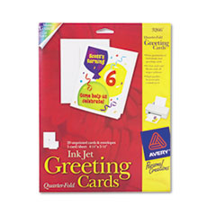 Avery Inkjet Textured Cards, Quarter-Fold Cards, 4-1/4 x 5-1/2, White, 20/Pack