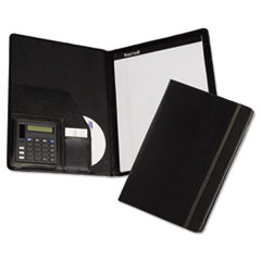Samsill Slimline Padfolio, Leather-Look/Faux Reptile Trim, Writing Pad, Black